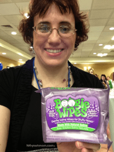"Tonia holding a package of 'Boogie Wipes' that Mindee Doney of ""Juice Box Consulting"" (creator of Boogie Wipes) honored her with at Disney on the road Seattle!"