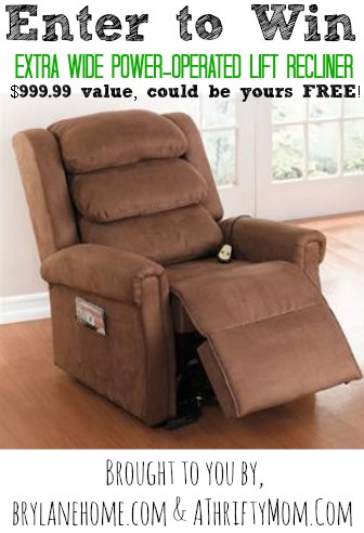Need a 'LIFT'?  Enter to win an Extra Wide Power-Operated LIFT Recliner Giveaway!