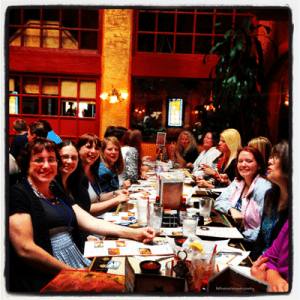 Tonia L. Clark founder of Whynotmom.com having lunch with her new blogger buddies after attending #DisneyOnTheRoad #Seattle #DisneySMMoms