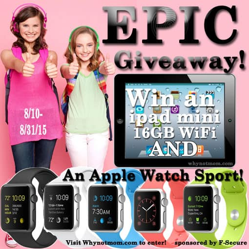 Win an Apple Watch Sport AND an iPad Mini 16GB wi-fi and 12 mo FREE of Freedome VPN! https://whynotmom.com/freedome5 giveaway|sweeps|security|f-Secure|password manager|hackers|security breach|Home Depot|Target|retail|credit card|identity theft|fraud
