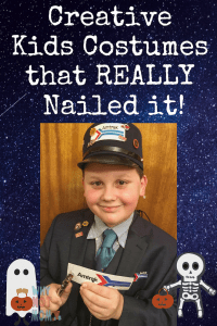 boy dressed as Amtrak train conductor for halloween