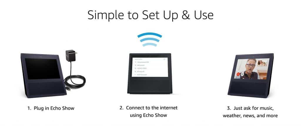Echo Show brings you everything you love about Alexa, and now she can show you things. Watch video flash briefings and YouTube, see music lyrics, security cameras, photos, weather forecasts, to-do and shopping lists, and more. All hands-free—just ask.