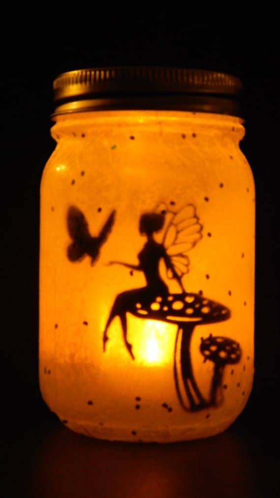 Custom Made Mason Jar Lamp Home Decor, Fairy Lanterns  #etsy #handmade #jewelry #decor #fairies #christmas #holiday #masonjar #diy