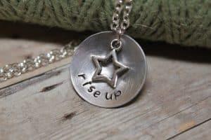 "necklace says ""Rise Up"" #jewelry #etsy #handmade #handmadejewelry #Hamilton"