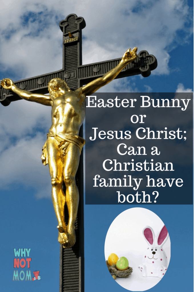 Gold statue of Jesus Christ hanging from a cross with the Easter Bunny and basket of eggs in corner