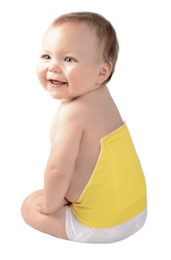 baby wearing a diaper extension that prevents diaper blow outs and leakage