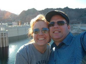 candid photo of couple on vacation at Hoover Dam in Las Vegas