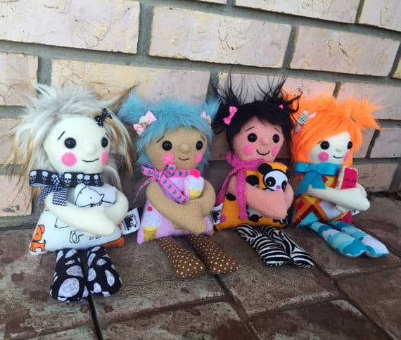plush dolls with safety eyes in multi colors