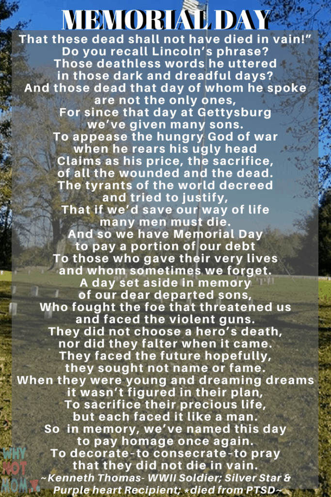 #memorialday poem with image of Fort Donelson cemetery in the background