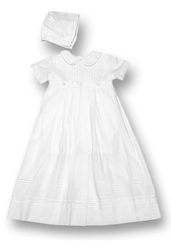 white newborn blessing dress with bonnet