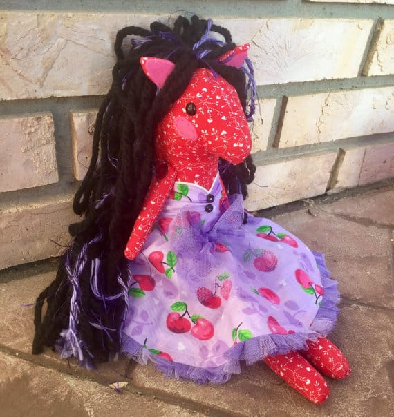 red valentines heart fabric pony doll with brown yarn hair