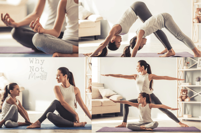 images of mom and daughter doing yoga workout together