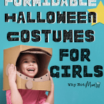 young girl dressed wearing a homemade cardboard astronaut helmet near a cardboard space shuttle. Title: Forty fierce and formidable Halloween costumes for girls