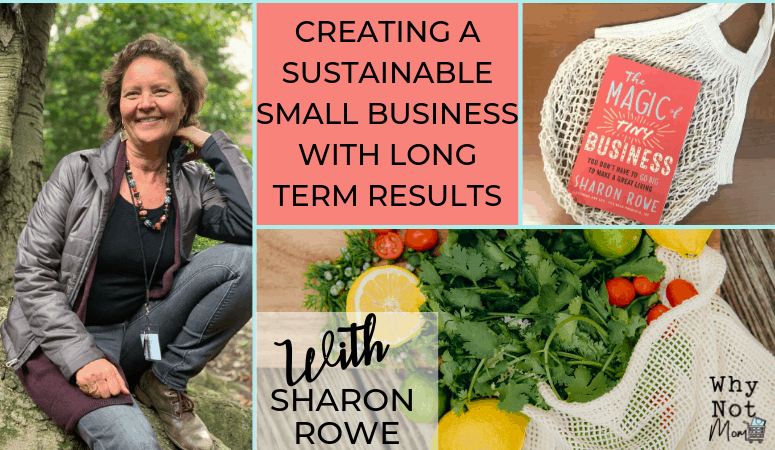 photo of Sharon Rowe founder of Ecobags and a photo of a produce bag full of fresh produce|blog post title creating a sustainable small business with long term results