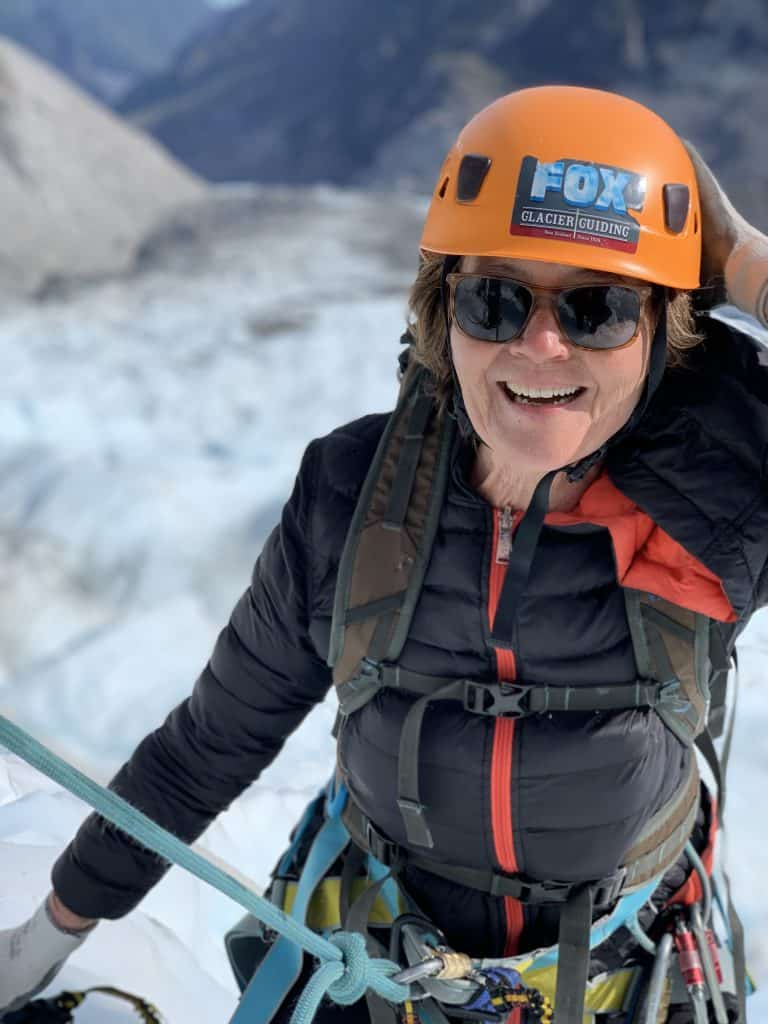 Sharon Rowe rockclimbing on a glacier