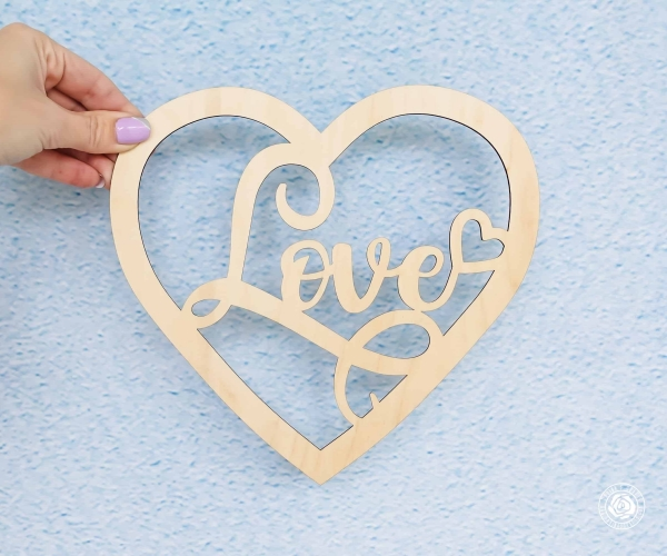 laser cutout Love heart, Love Wood sign, Love script word, wooden Love Heart cutout decor, Wedding photo props