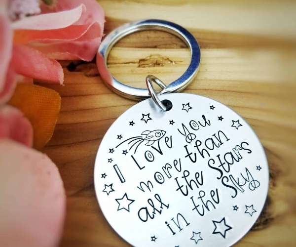 Engraved Key chain: I love you more than all the stars in the sky