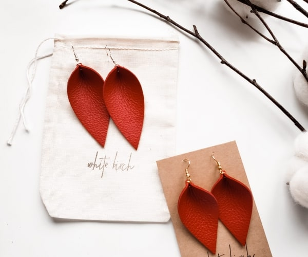 Red Leather, Red Leather teardrop Earrings, Leather Studs