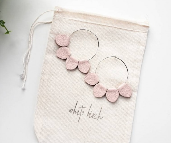 Blush Pink Leather Petal Hoop Earrings, Dangle Hoop Earrings, Leather Earrings Handmade leather petal hoop earrings with a casual bohemian vibe