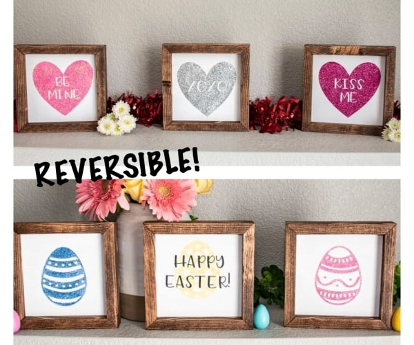 Reversible sign with Valentines and Easter, unique valentines decor, Happy Easter sign. 100% handmade wood signs with one side hand painted for Valentines and one side painted for Easter. Both designs with glittery accents. The frame is made from pine and is stained a dark walnut brown.