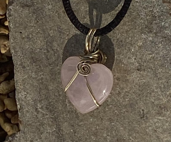 Dainty Rose Quartz Necklace. A Pretty Pink Wire Wrapped Double Sided Boho Heart Shaped Pendant. The Perfect Valentine's Day Gift for Her.